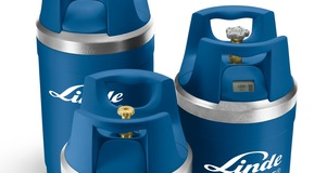 Small, medium and large blue generic Linde branded GENIE® gas cylinders